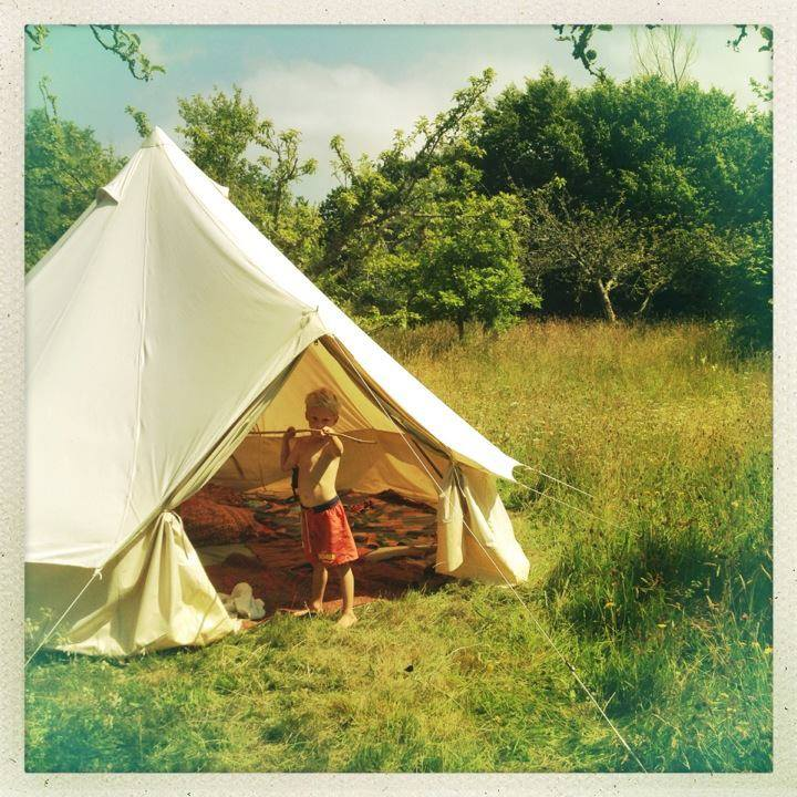 The 4m diameter Bell Tent with 2.5m tall central pole. Spacious enough for a couple to camp in style or a young family.
