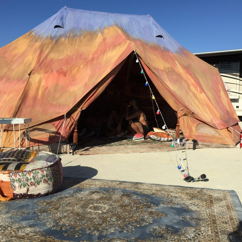 6m diameter Emperor TWIN Bell tent at Burning Man Festival
