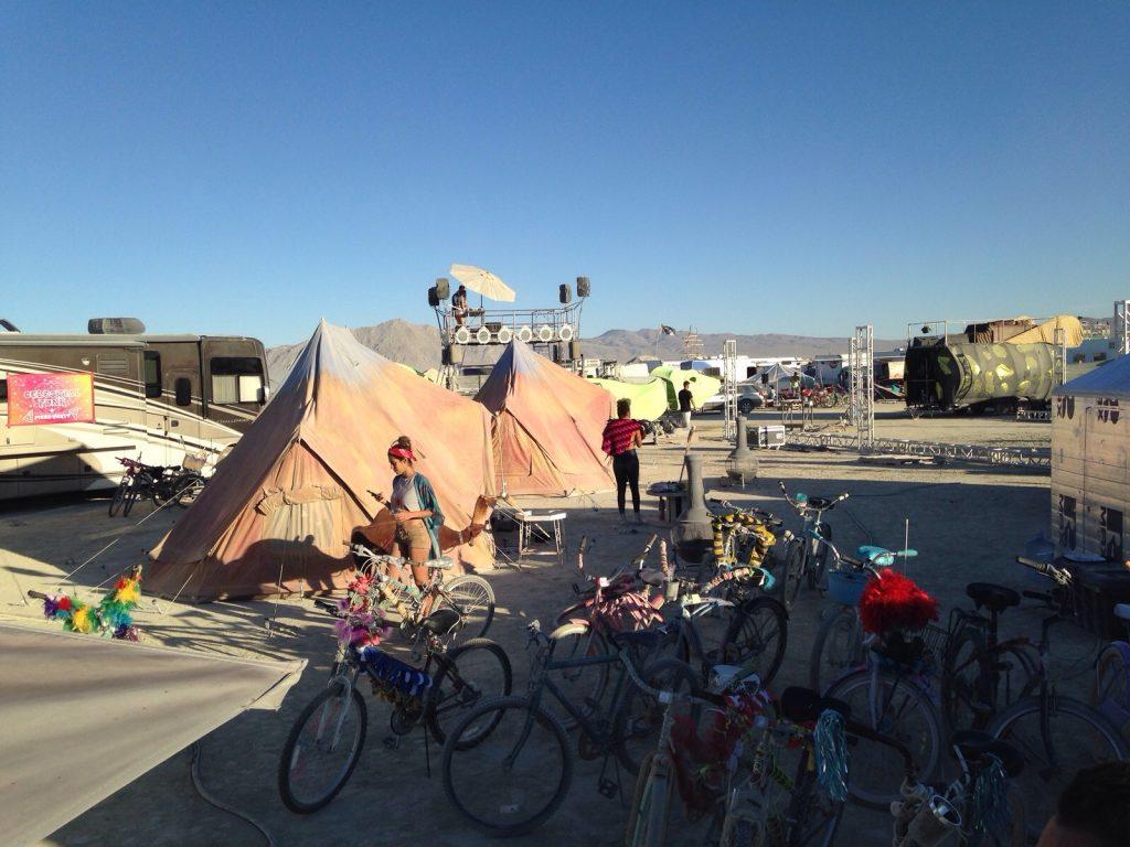 6m diameter Emperor TWIN bell Tents at Burning Man Festival