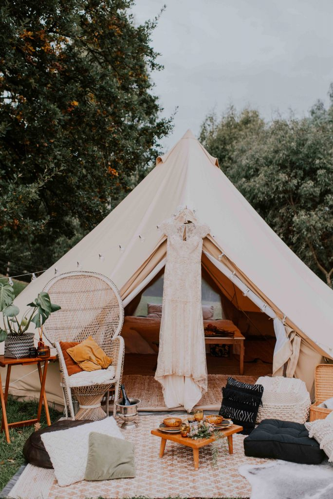 Glamping wedding elopement bell tent elopement wedding packages in Gippsland Australia