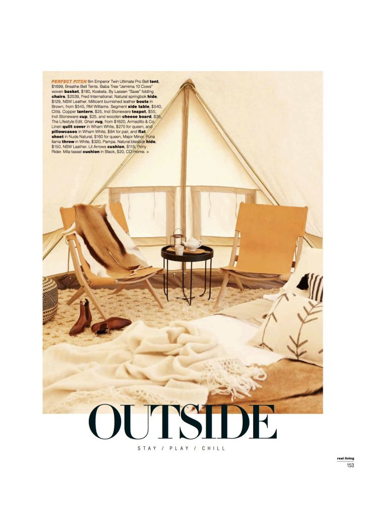 Real Living Magazine Glamping Editorial Issue