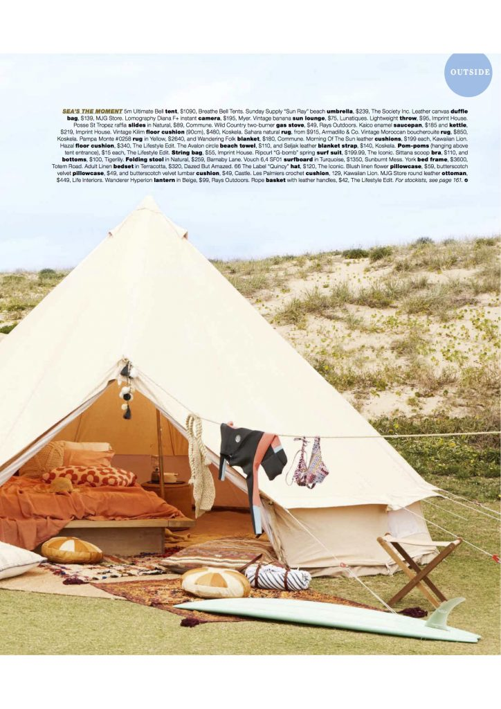 5m diameter Bell Tent, Surf trip, girlfriends, camping, glamping, surf safari, natural canvas tent, Real Living Magazine, Bell Tent, June 2017 Issue