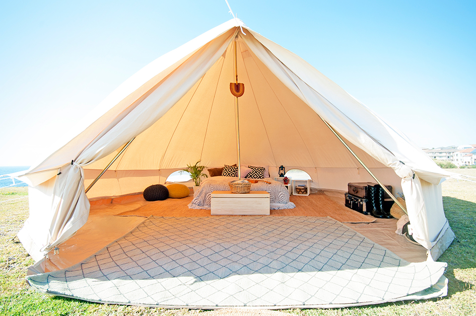 5m Protech Bell Tent Mesh Walls & The Emperor 6m Twin Bell Tent the epitome of glamping! - Breathe ...