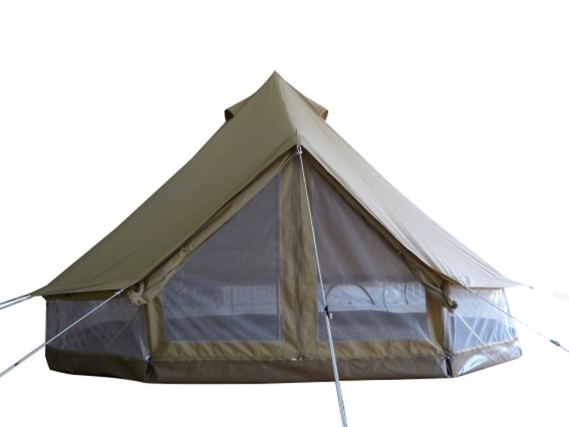 Protech Bell Tent Details photographs mesh wall natural canvas tent for family camping and glamping, safari tent style,