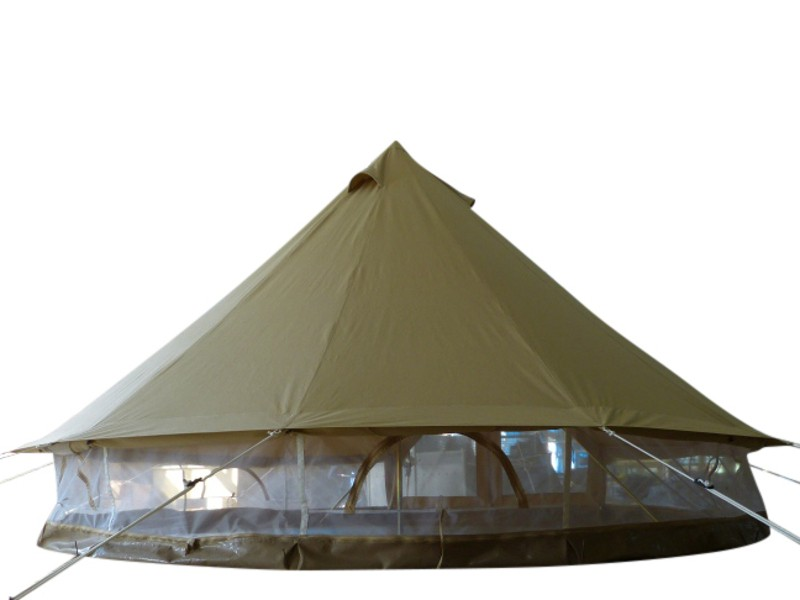 Protech Bell Tent Details photographs mesh wall natural canvas tent for family camping and glamping, safari tent style, heavy duty 360gsm canvas, 650gsm groundsheet