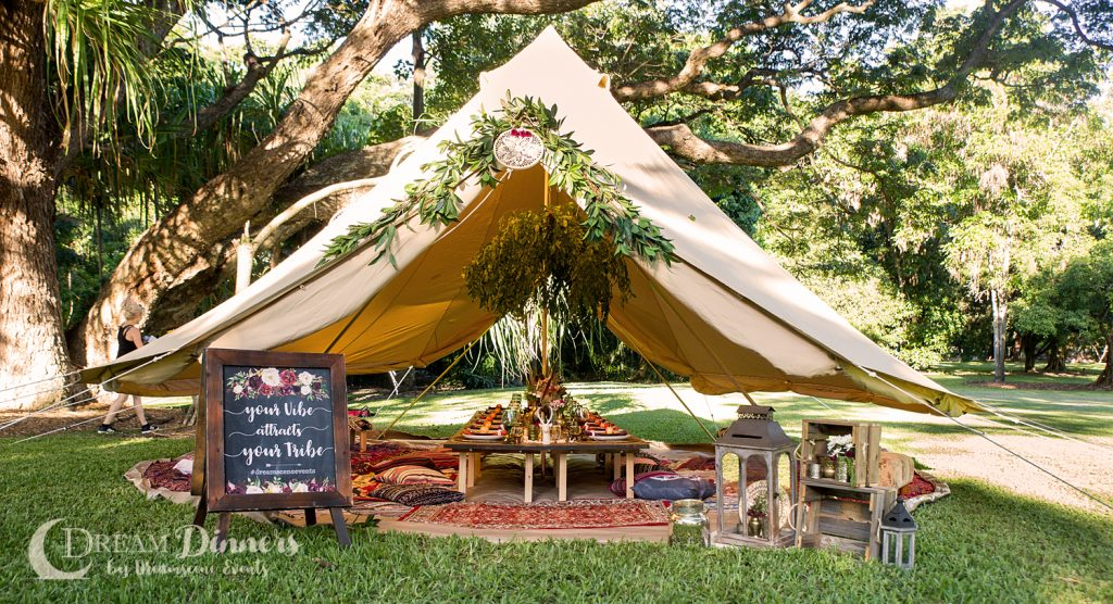 Glamping 6m diameter Protech Canvas Bell Tent Double Door Dinner Styling Charity Ball Event dinner table centre piece