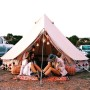 4m diameter bell tent ideal for camping, festivals, backyard camping, glamping, natural canvas tent, lightweight, versatile, zip off groundsheet, kirsty cane, splendour in the grass festival, music tent