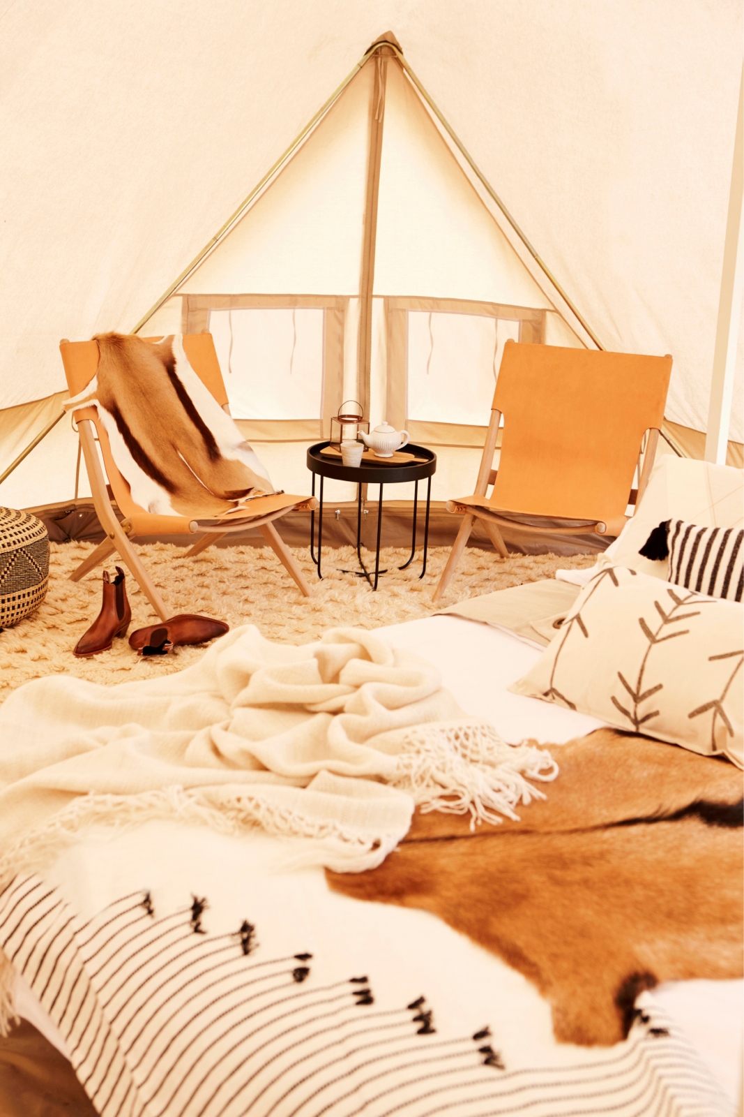 Interior 6m diameter Emperor Twin Bell Tent Glamping Tent, natural canvas, camping glamping, african safari