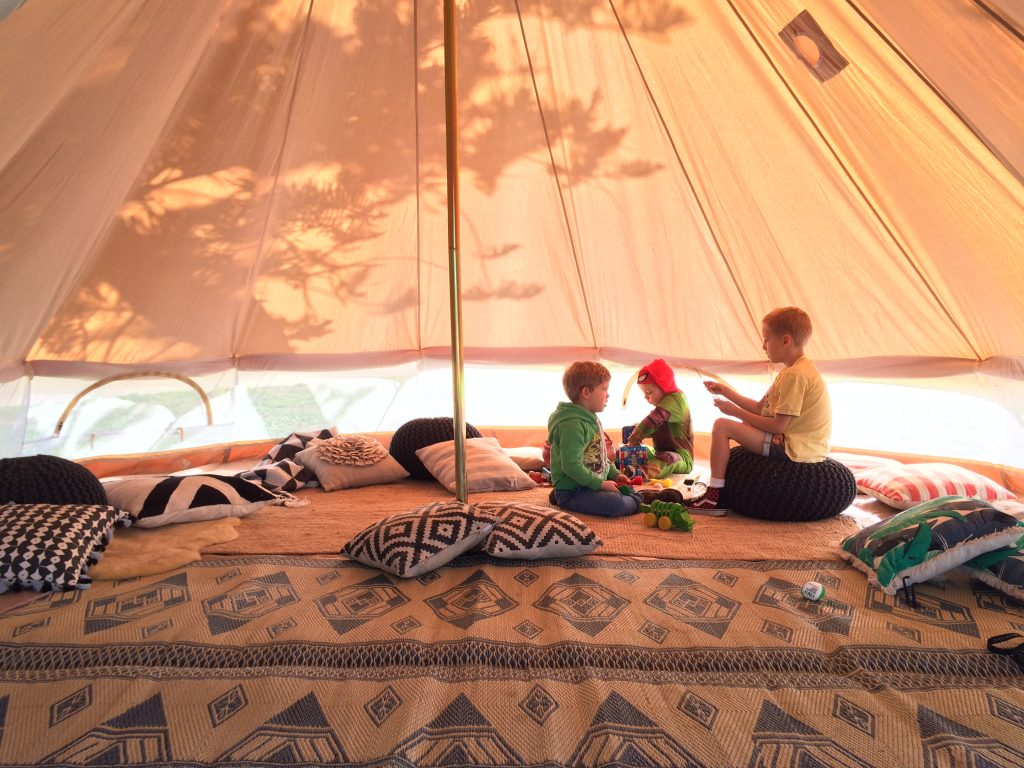 5m diameter protech bell tent with mesh sides. heavy weight canvas. Professional use. Glamping and camping.