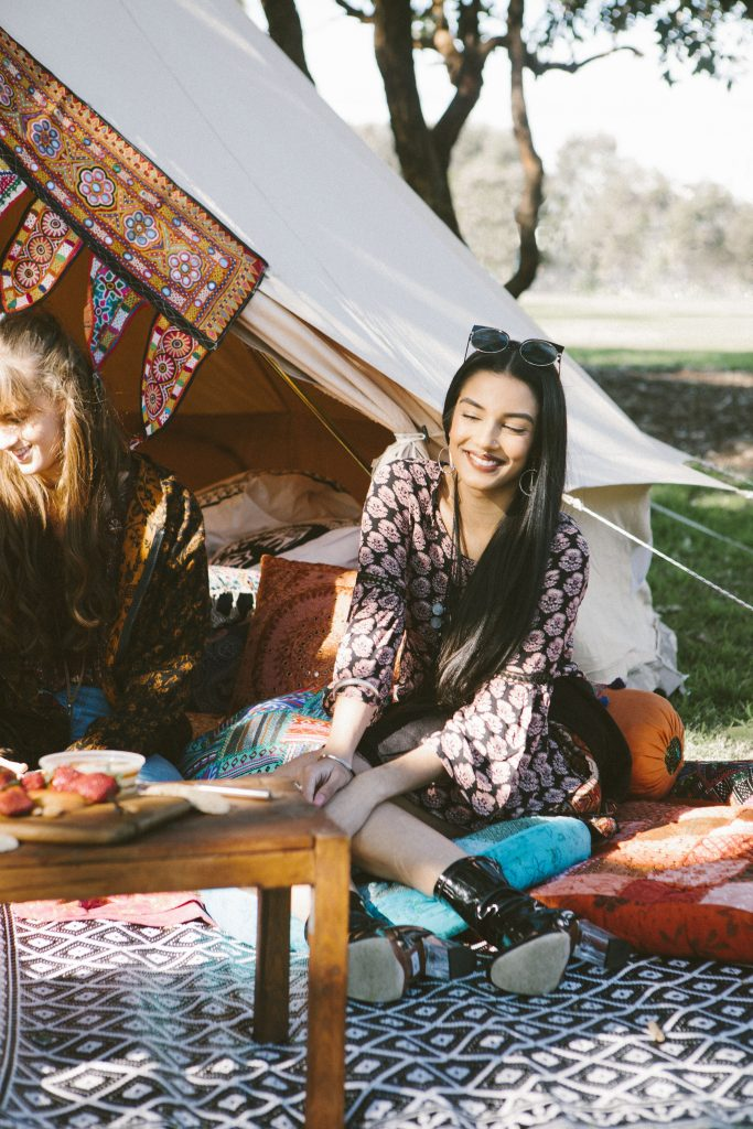 Bell Tent Glamping Bohemian Luxe Camping Styling Festival Party