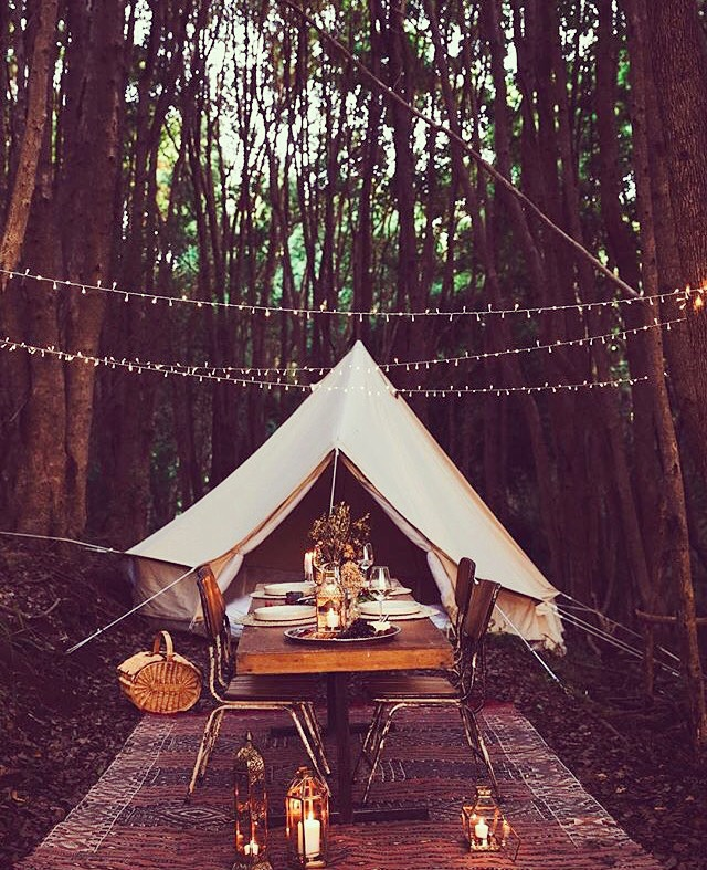 4.5m diameter Bell Tent styled beautifully for a dinner in the forest & 4.5m Protech Bell Tent Mesh Walls - Breathe Bell Tents