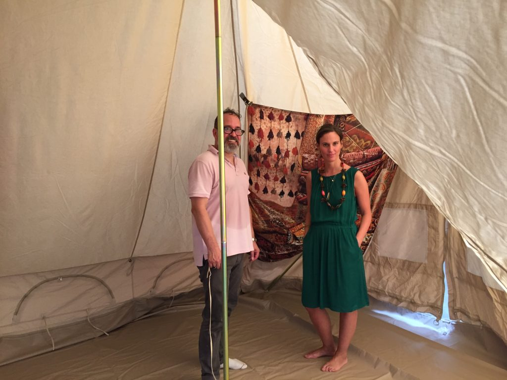 Scenic Artists in LA ready to paint the bell tent