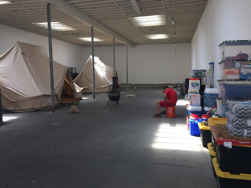 Bell Tents being painted by scenic artists in LA ready for Burning Man festival