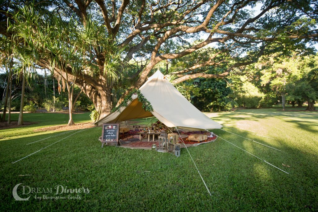 6m diameter Protech Bell Tent Canvas tent, catering, styled dinner, bohemian, moroccan style, tent, glamping, camping, design