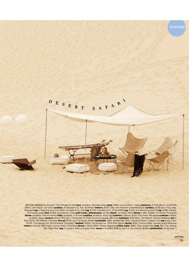 6m diameter emperor twin bell tent,Real Living Magazine Editorial Issue, pitch perfect, glamping, surftrip