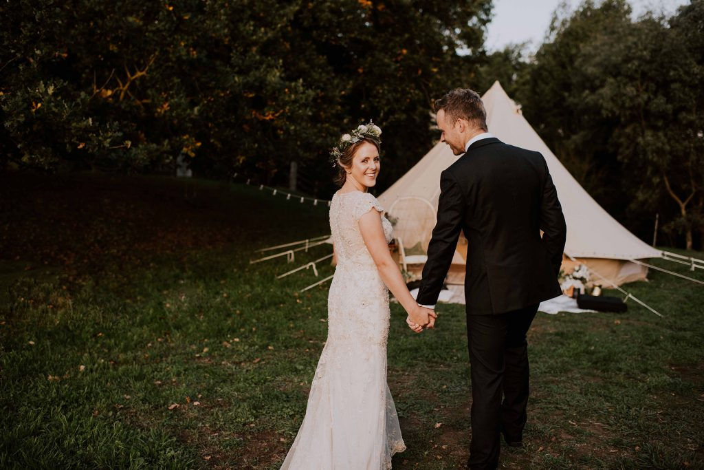 Glamping wedding elopement bell tent elopement wedding packages in Gippsland Australia