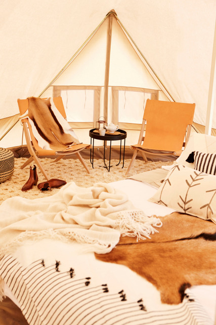 Luxurious Glamping Bell Tent interior 6m diameter Emperor Twin Pro Bell tent Camping, glamping, safari tent, family tent, natural canvas tent, australian tent