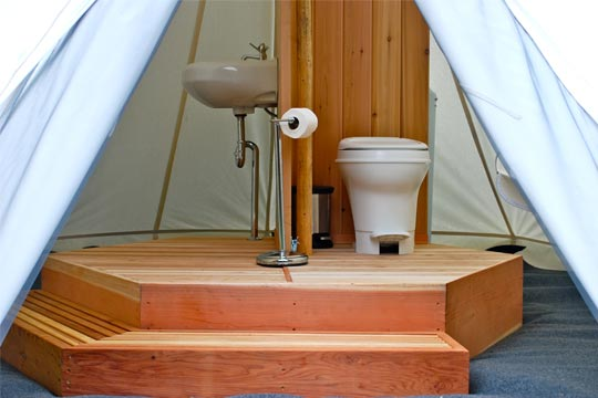 Glamping Bathroom Amenities Design Ideas - Breathe Bell Tents Australia Inspo - Bathroom design ideas, canvas, fabric, porcelain sinks
