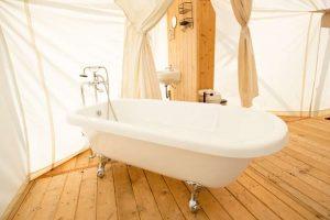 Glamping Bathroom Amenities Design Ideas - Breathe Bell Tents Australia Inspo - Bathroom design ideas, canvas, fabric, porcelain sinks